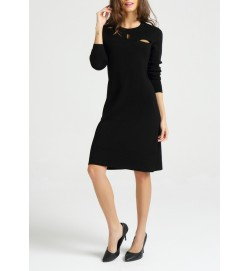 Cut-out Pattern Wool Dress