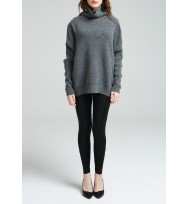 Oversize Textured T/Neck Cashmere Sweater