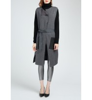 Asymmetric Leather Pocket Sleeveless Wool Cardigan