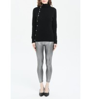Decorative Button Trim Texture Cashmere Sweater