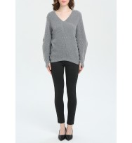 Leather Trim Texture Allover Vee Neck Cashmere Sweater